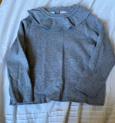 Grey Baby Girl Knitted Jumper with Frill Zara 18-24