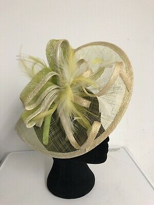 Lime Green Off White Fascinator Weddings Christenings Ladies Day Ascot