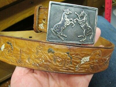 Vtg One Of A Kind Handmade Sterling Belt Buckle Tooled Leather Appaloosa Horses