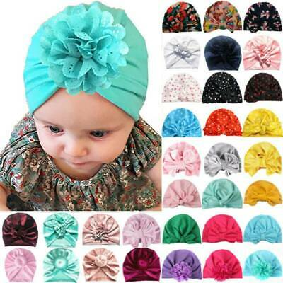 Baby Toddler Girls Turban Cap Cotton Headwrap Big Bow Knot India Headband Beanie