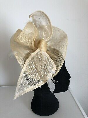 Ivory Bow Polka Dot Fascinator On Headband Weddings Christening Ladies Day Ascot