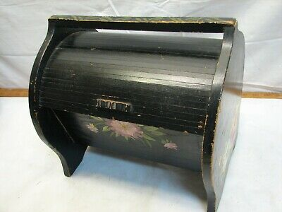 Vintage Tole Painted Wooden Roll Top Sewing Storage Box Caddy Basket Folk Art
