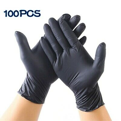 100pcs Comfortable Washing Disposable Mechanic Gloves Black Nitrile Laboratory