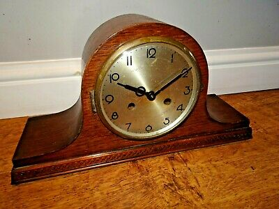 Antique Art Deco Badische Uhrenfabrik Oak Napoleon's Hat Chiming Mantel Clock