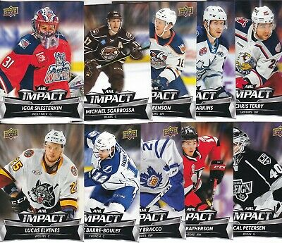 2019-20 19-20 Upper Deck Ahl Hockey Impact 10 Card Insert Set Igor Shesterkin +