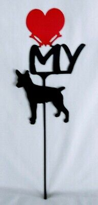 Rat Terrier Love (heart) Yard Sign Metal Silhouette Made in the USA