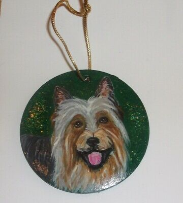 Silky Toy Terrier Dog Christmas Ornament Decoration Hand Painted Ceramic