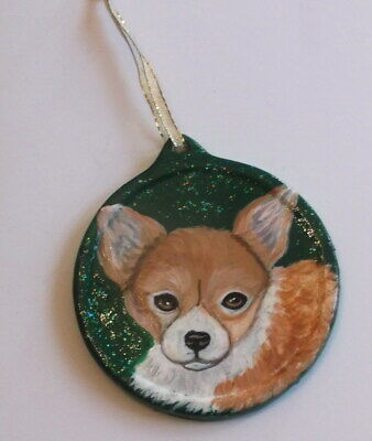 Chihuahua Dog Christmas Ornament Decoration Hand Painted Ceramic