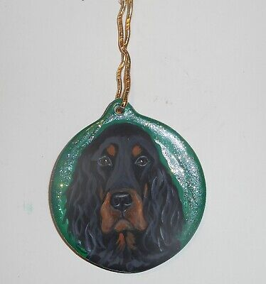 Gordon Setter Dog Christmas Ornament Decoration Hand Painted Ceramic