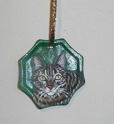 Tabby Domestic Cat Christmas Ornament Decoration Hand Painted Ceramic