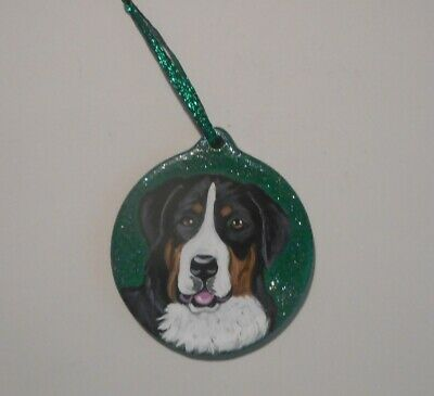 Greater Swiss Mountain Dog Christmas Ornament Decoration Hand Painted Ceramic