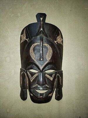 Hand Carved Wooden African Mask, Made in Kenya 10 inches tall
