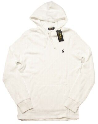 Polo Ralph Lauren Men's White Waffle Knit Thermal Pullover Hoodie