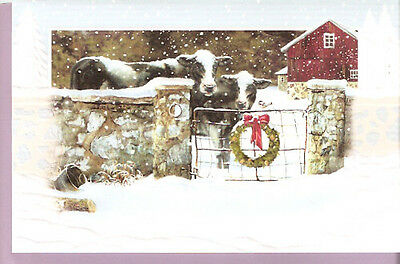 16 Holsteins Cows Boxed Embossed Christmas Cards Barn Stone Wall Cow Holstein