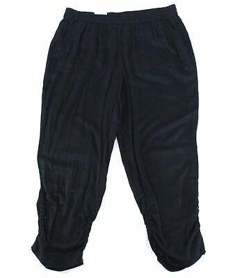 Style & Co. Womens Pants Black Size 22W Plus Ruched Jogger Stretch $59 037
