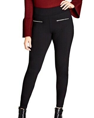 City Chic NEW Black Womens Size 20 Plus Pull-On Skinny Pants Stretch $69 034