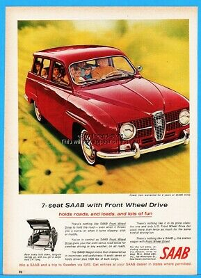1966 Saab Front Wheel Drive Station Wagon Red Car Family Art Ad