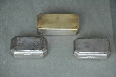 3 Pc Old Brass & Iron Handcrafted Different Shape Boxes