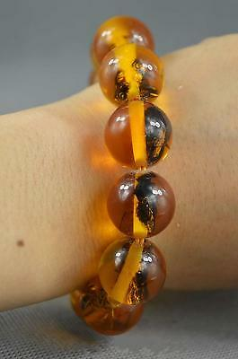 Collectible Handwork Amber Inner Inlay Insect Exorcism Auspicious Lucky Bracelet