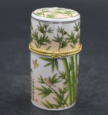 Chinese Porcelain bamboo Toothpick Box Holder Storage Lucky Jewelry Box