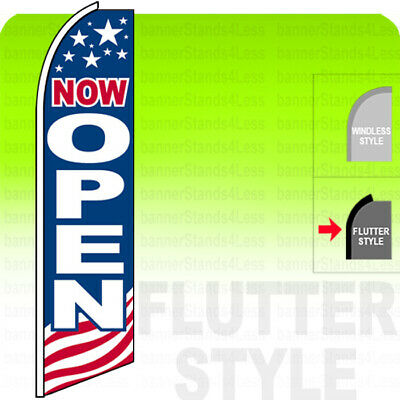 NOW OPEN - Swooper Flag Feather Banner Sign 11.5' Tall FLUTTER Style USA bb