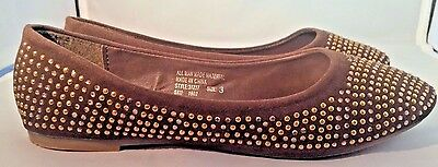 Brown Ballet Flats/Shoes with Gold Beading Little Girls Size 11