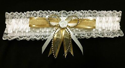 Wedding Garter Cream & Gold With Pearl Strand And A Rose