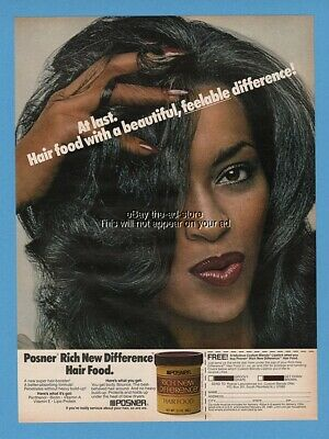 1979 Posner Hair Food Lipstick Pretty Woman African American Black Beauty Ad