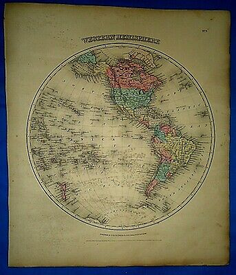 Vintage 1857 MAP ~ WESTERN HEMISPHERE ~ Old Antique Original Colton's Atlas Map