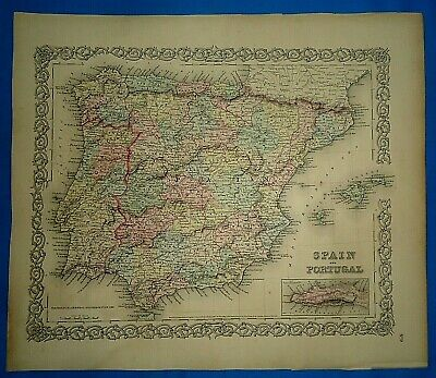 Vintage 1857 MAP ~ SPAIN - PORTUGAL ~ Old Antique Original Colton's Atlas Map