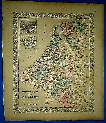 Vintage 1857 MAP ~ HOLLAND - BELGUIM ~ Old Antique Original Colton's Atlas Map