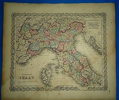 Vintage 1857 MAP ~ NORTHERN ITALY ~ Old Antique Original Colton's Atlas Map