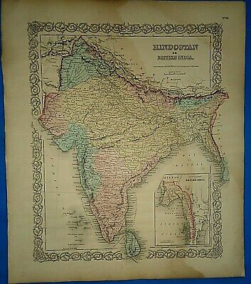 Vintage 1857 MAP ~ HINDOOSTAN BRITISH INDIA Old Antique Original Colton's Atlas