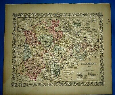 Vintage 1857 MAP ~ GERMANY #2 ~ Old Antique Original Colton's Atlas Map