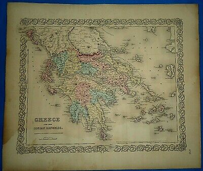 Vintage 1857 MAP ~ GREECE ~ Old Antique Original Colton's Atlas Map