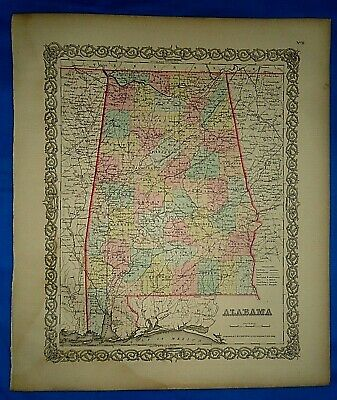 Vintage 1857 MAP ~ ALABAMA ~ Old Antique Original Colton's Atlas Map