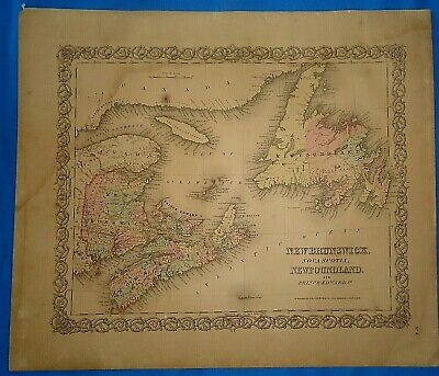 Vintage 1857 MAP ~ MARITIME CANADA ~ Old Antique Original Colton's Atlas Map