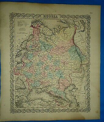 Vintage 1857 MAP ~ RUSSIA ~ Old Antique Original Colton's Atlas Map
