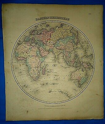 Vintage 1857 MAP ~ EASTERN HEMISPHERE ~ Old Antique Original Colton's Atlas Map