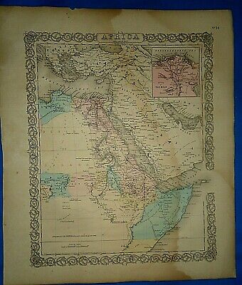 Vintage 1857 MAP ~ NORTHEAST AFRICA ~ Old Antique Original Colton's Atlas Map
