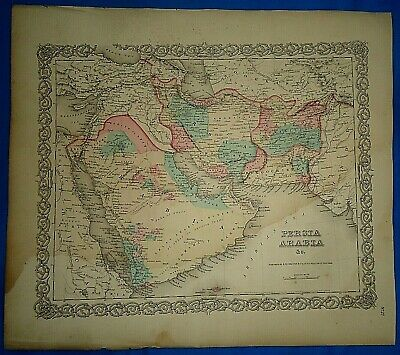 Vintage 1857 MAP ~ PERSIA - ARABIA ~ Old Antique Original Colton's Atlas Map