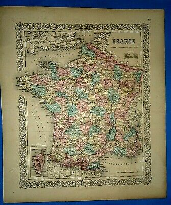 Vintage 1857 MAP ~ FRANCE ~ Old Antique Original Colton's Atlas Map