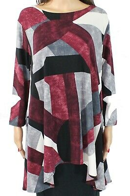 Alfani Womens Blouse Wine Red Black Size XL Colorblock Swing Top $64 105