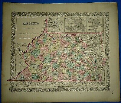 Vintage 1857 MAP ~ PRE-WAR VIRGINIA ~ Old Antique Original Colton's Atlas Map