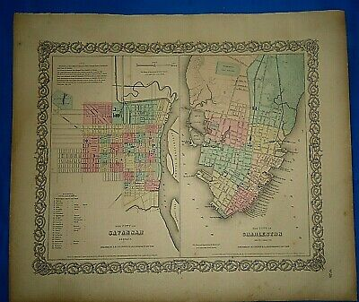 Vintage 1857 MAP SAVANNAH - CHARLESTON ~ Old Antique Original Colton's Atlas Map