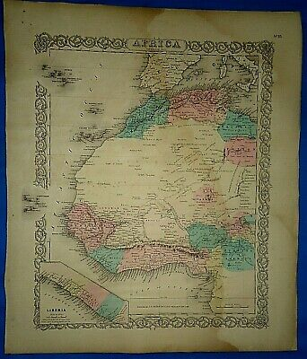 Vintage 1857 MAP WESTERN AFRICA  LIBERIA Old Antique Original Colton's Atlas Map