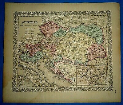 Vintage 1857 MAP ~ AUSTRIA ~ Old Antique Original Colton's Atlas Map