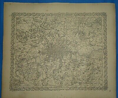 Vintage 1857 MAP ~ LONDON, ENGLAND ~ Old Antique Original Colton's Atlas Map