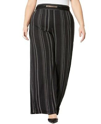 NY Collection Womens Pants Black Size 3X Plus Striped Wide Leg Stretch $54 201