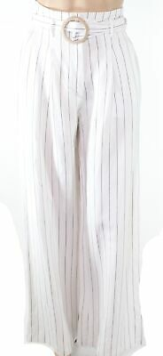 Leyden Womens White Black Size XS Pants Pinstriped Belted Wide Leg $98 200